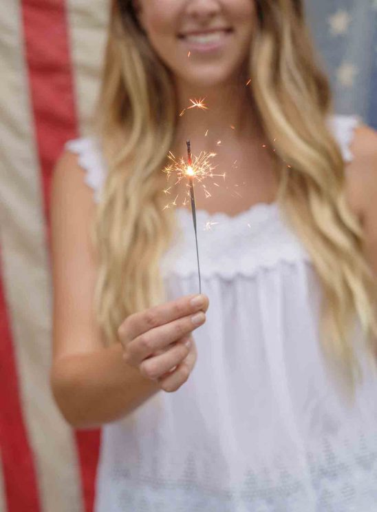 Free stock photo Midsection of woman holding sparkler against american flag