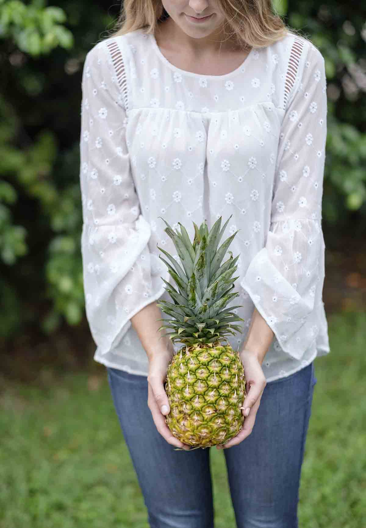 Free stock photo Midsection of woman holding pineapple in park