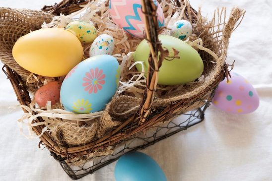 Free stock photo Basket full of colorful Easter eggs