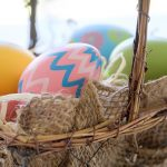 Free stock photo Close up of colorful Easter eggs in a basket