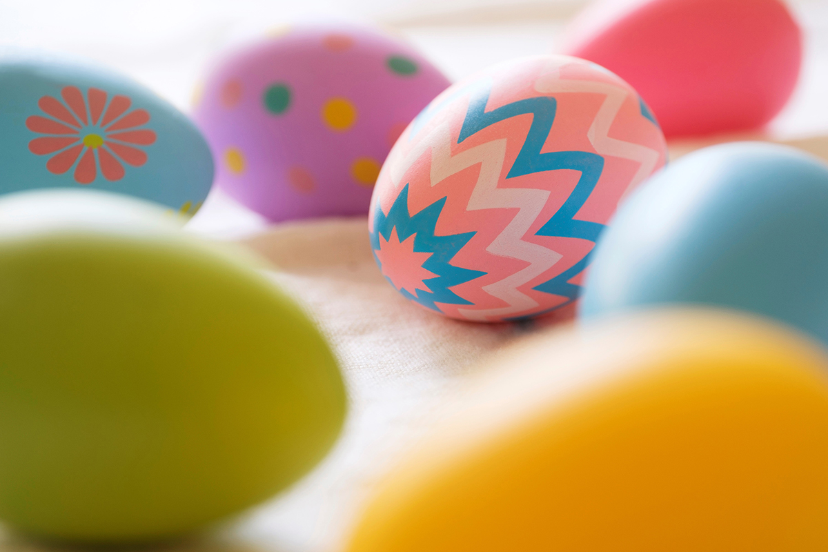 Free stock photo Close up of decorated pastel Easter eggs
