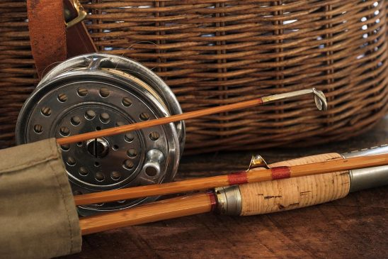 Free stock photo Close up still life of old fly fishing rod and reel