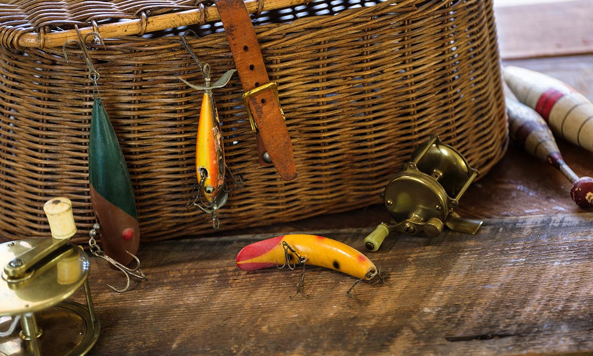 Free stock photo Fishing lures with basket and reels