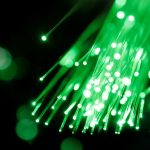 Free stock photo Green light coming through a fiber optic cable