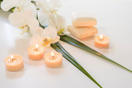 Free stock photo White orchids and candles spa still life
