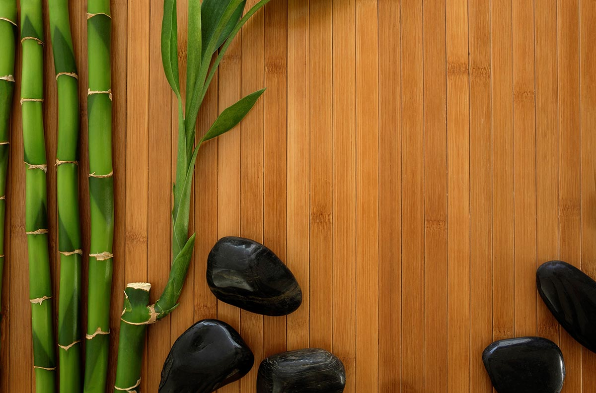 Free stock photo Bamboo stalks and black stones surrounding background space