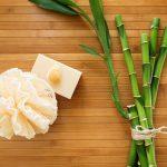 Free stock photo Bamboo with soap, bath sponge and seashell