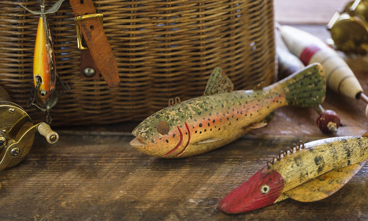 Free stock photo Antique fishing lures and creel