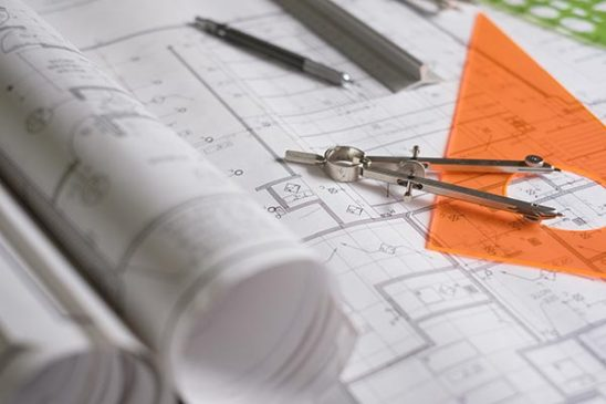 Free stock photo Drafting tools on architectural plans