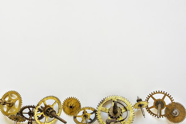 Free stock photo Border of clock gears on a white background