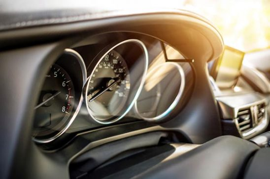 Free stock photo Automobile dashboard with sun flare