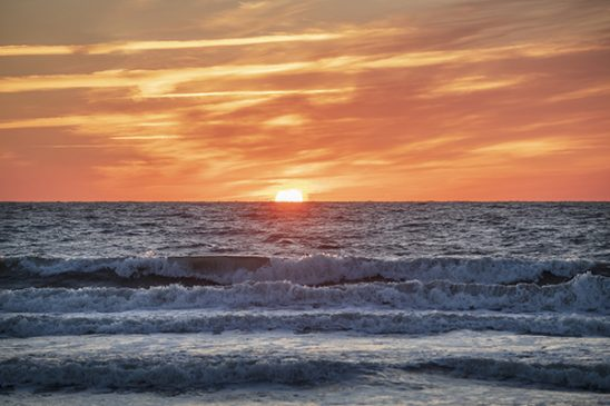 Free stock photo Ocean sunset with waves