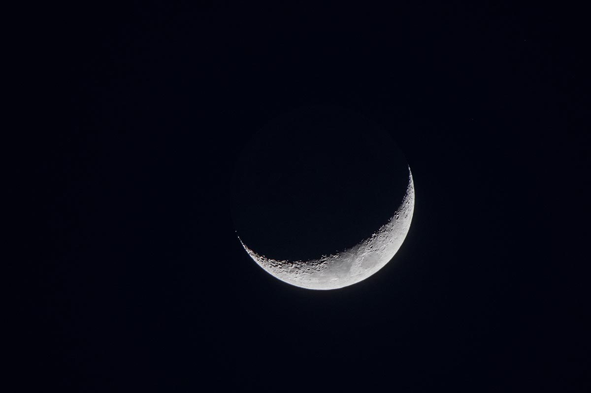 Free stock photo Telephoto shot of a crescent moon