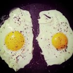 Free stock photo Two fried eggs in a frying pan