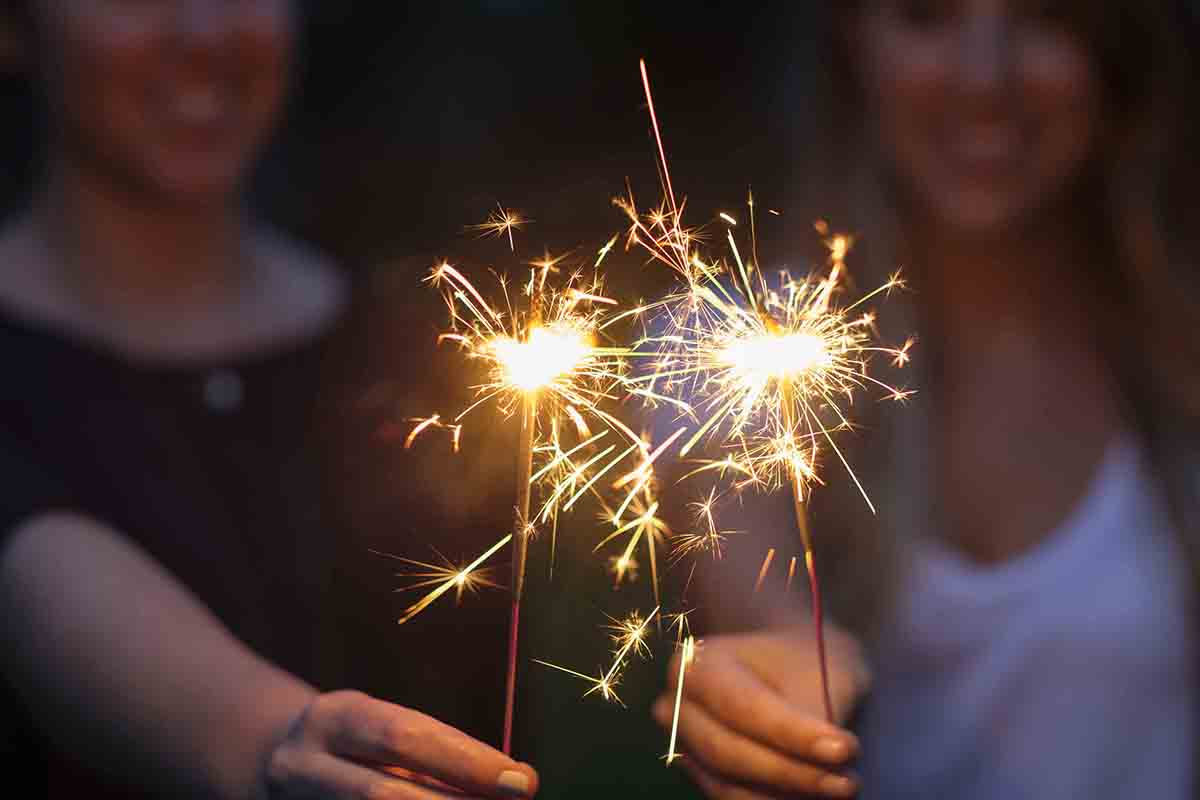 Free stock photo Women holding sparklers in park