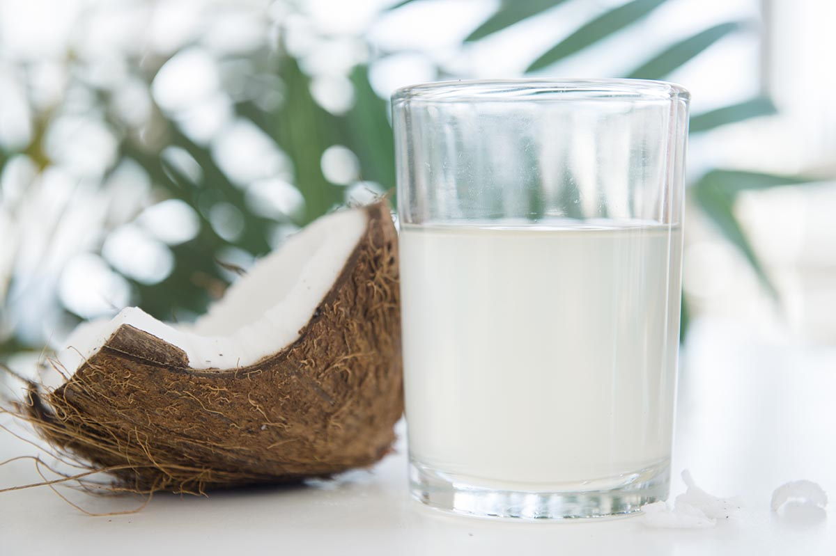 Free stock photo Glass of coconut milk with coconut in a tropical still life
