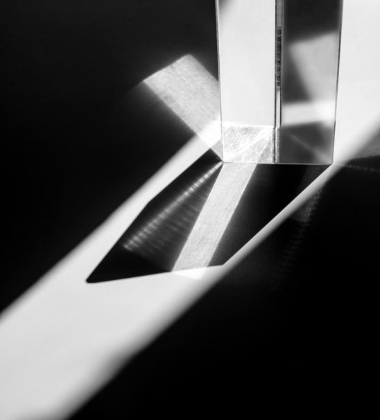 Free stock photo Black and white of a prism refracting light