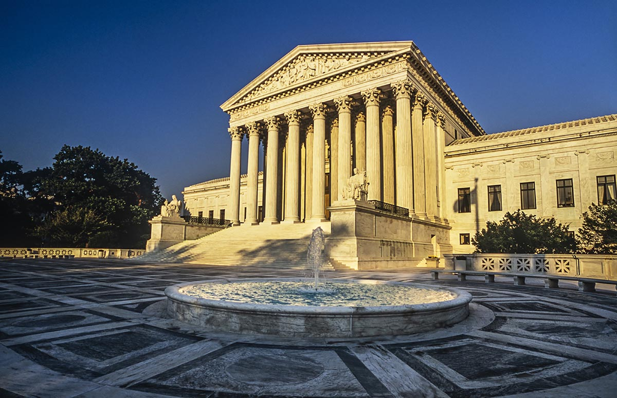 Free stock photo Sun shining on the Supreme Court building at sunset, Washington, DC