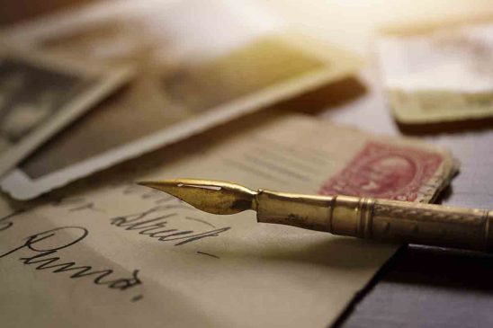 Free stock photo Close-up of antique fountain pen on letters