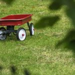 Free stock photo Red wagon on grassy field at park