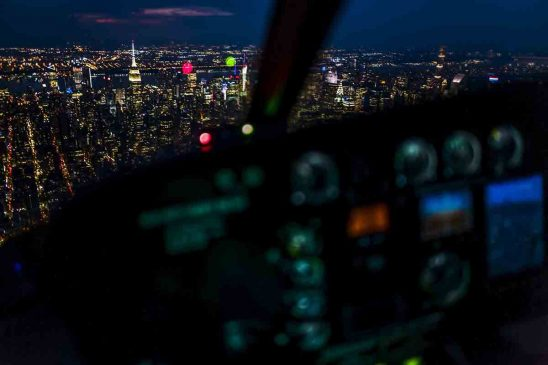 Free stock photo Illuminated city seen from helicopter at night