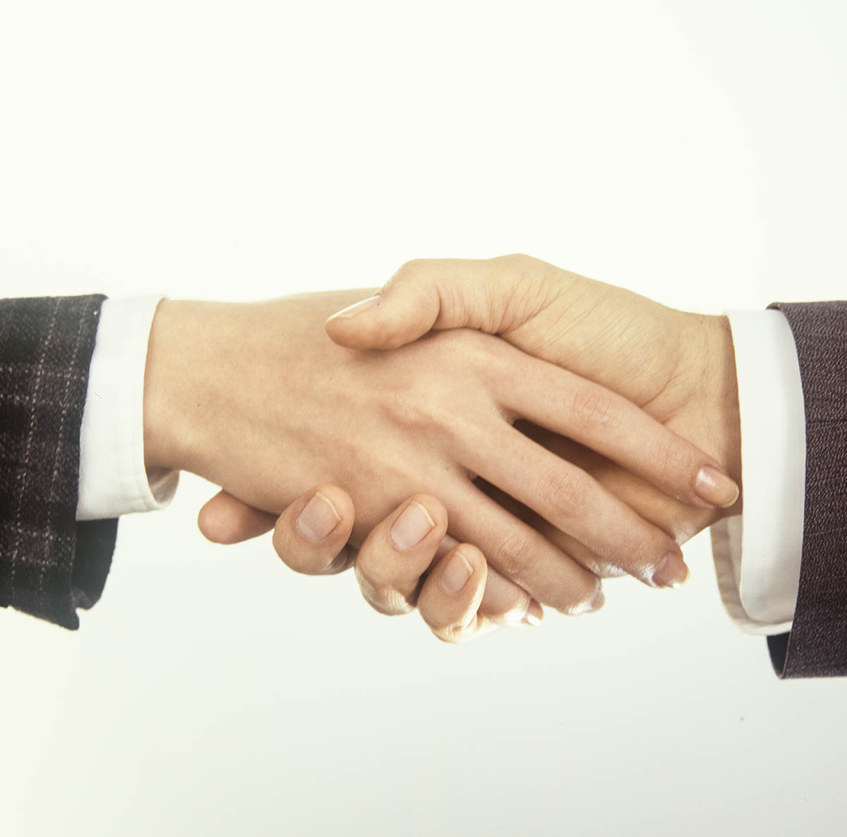 Free stock photo Handshake with a businessman and businesswoman