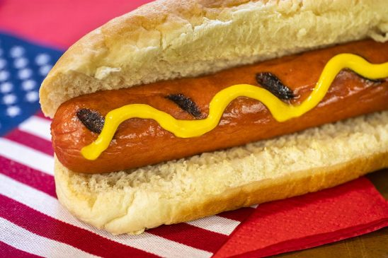Free stock photo 4th of July celebration with hot dog and American flag