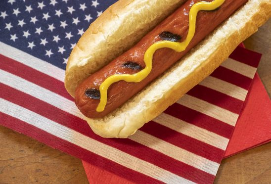 Free stock photo Hot dog with mustard and the American flag