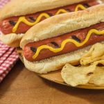 Free stock photo Two hot dogs in buns with potato chips