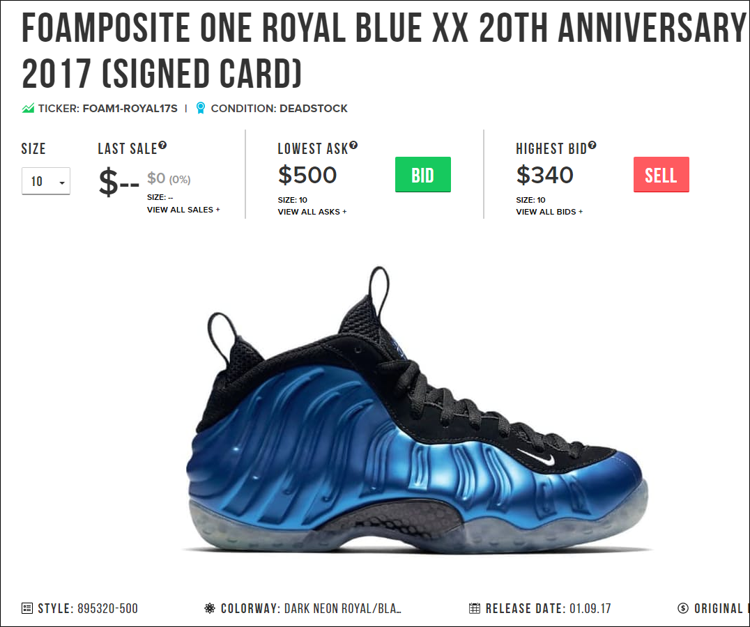 best cheap 77579 d2442 Ready to get in on the Foamposite action on StockX  Here s what the current  Asks and Bids look like for a size 10 on the Royal Foams that include the  signed ...