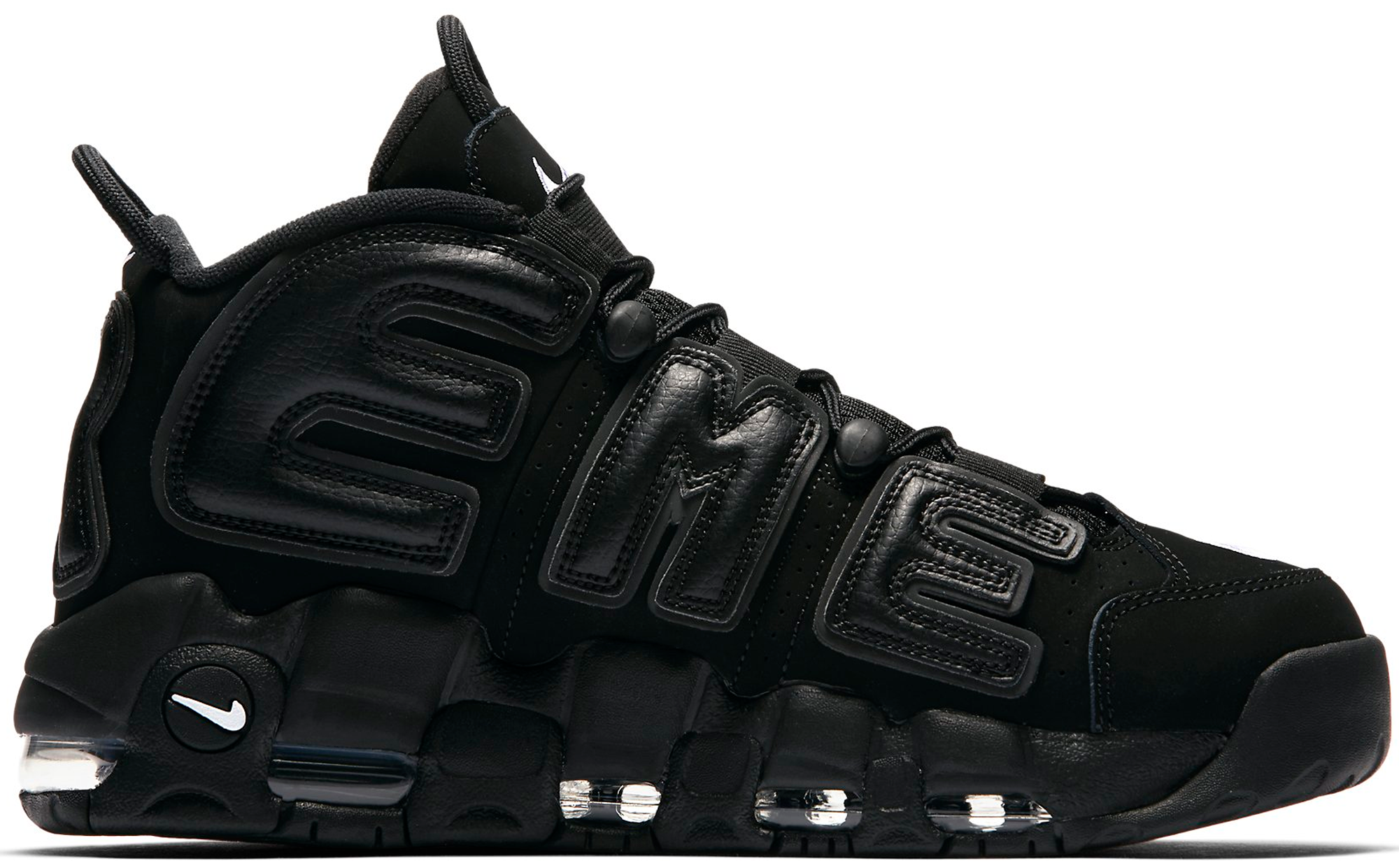 Nike X Supreme Air More Uptempo All Black Men Shoes