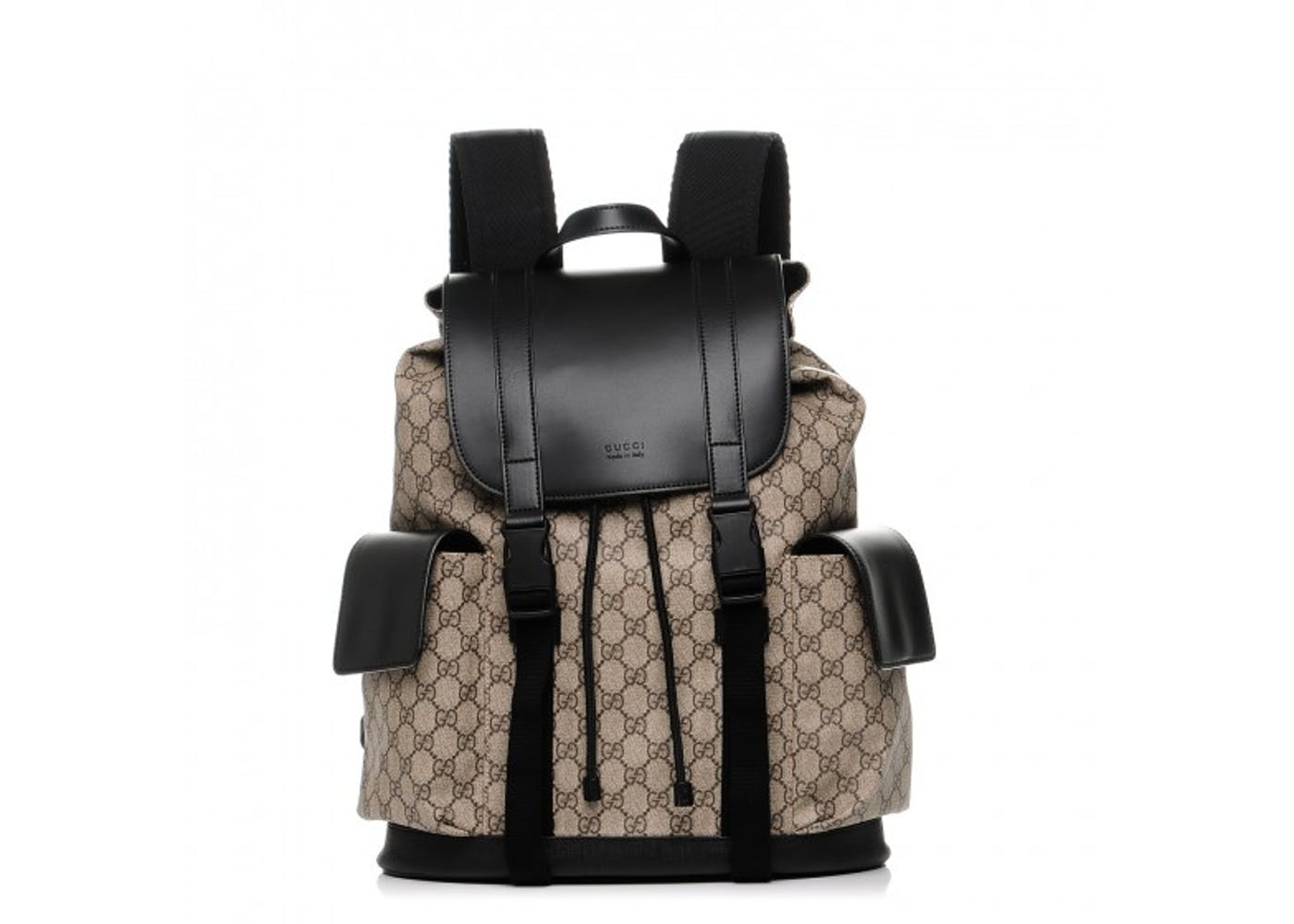 9152dab7212d This Gucci GG Supreme Soft Monogram backpack in black leather trim and  monogram canvas has a top with a buckle closure