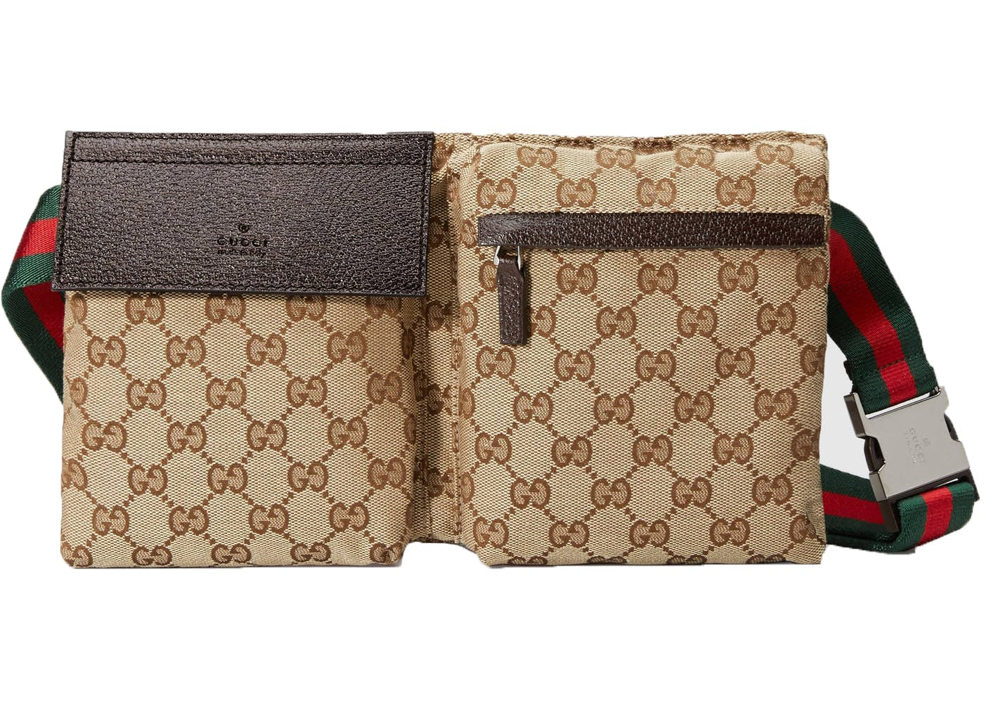 fc8337ec86e5e3 In classic Monogram GG Canvas, this waist bag has not one but two  compartments and the iconic red and green strap that's synonymous for Gucci.  Buy it here