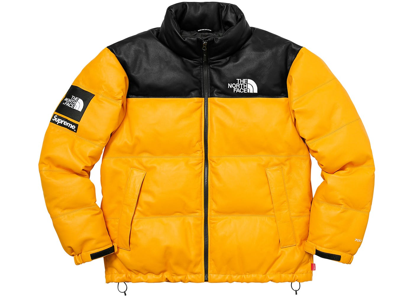 yellow supreme the north face leather nuptse jacket stockx news. Black Bedroom Furniture Sets. Home Design Ideas