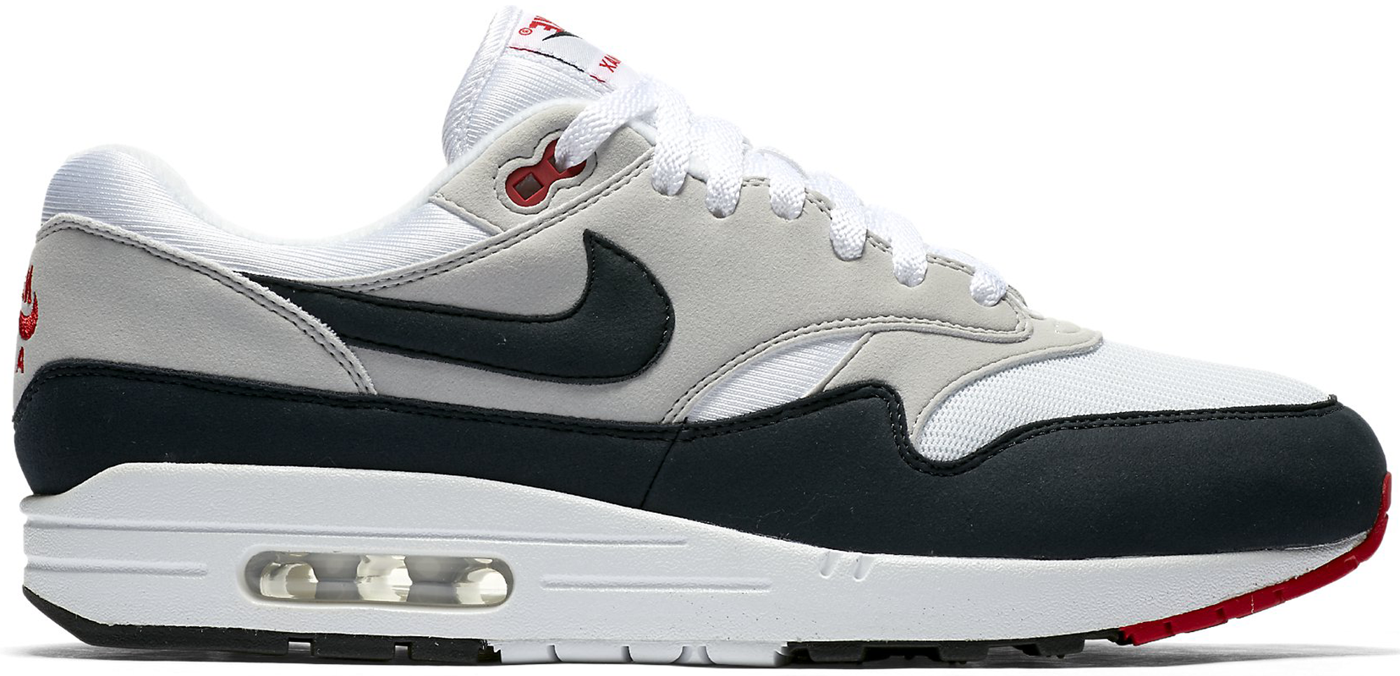 Nike Air Max 1 Anniversary Colorway  White Dark Obsidian-Neutral Grey-Black  Style  908375-104. Release Date  12.15.17 d156093f1