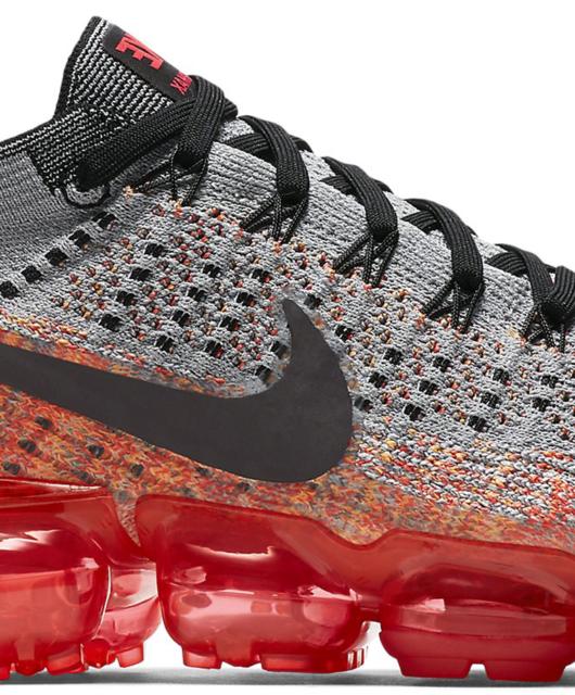 Women's Nike Air VaporMax Flyknit Wolf Grey Bright Crimson