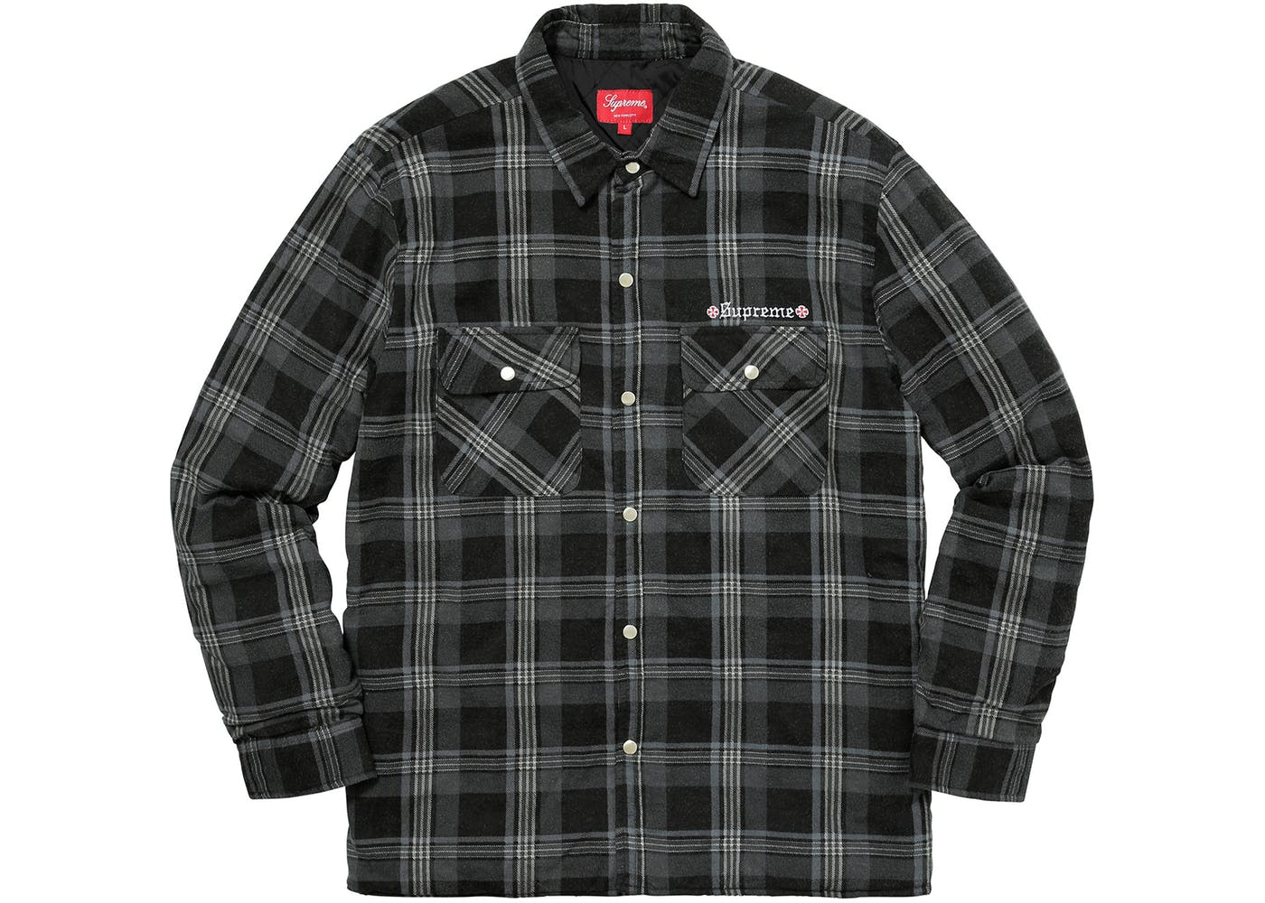 Supreme Independent Quilted Flannel Shirt Black : quilted flannel shirts - Adamdwight.com