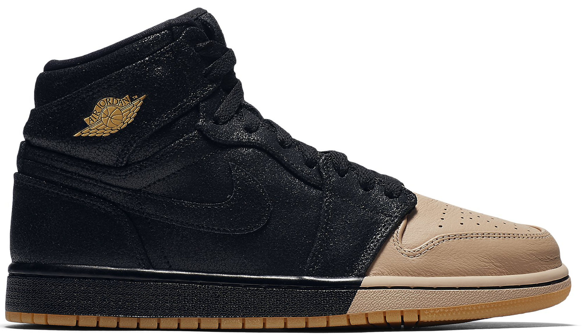 low priced a9134 a3ef3 Women s Air Jordan 1 Retro High Dip-Toe Black Vachetta Tan