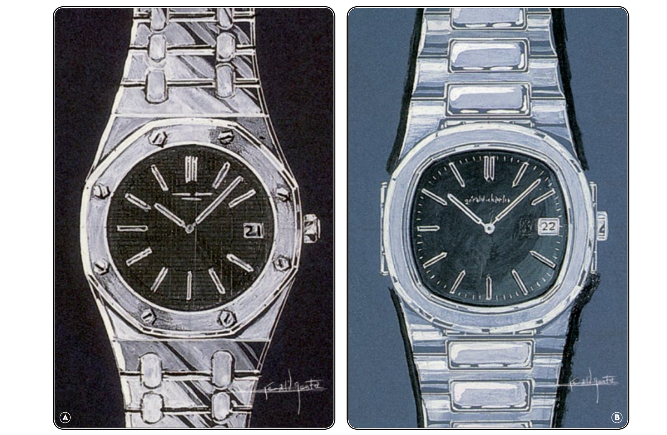 Original Gerald Genta designs, the Royal Oak and Nautlius