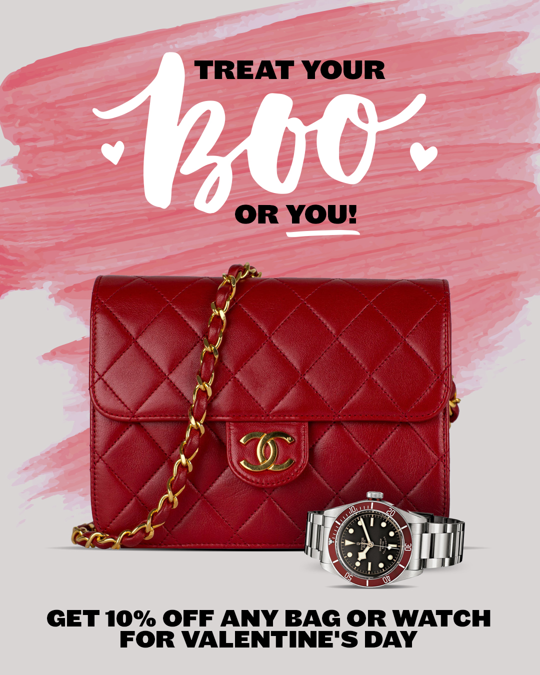 Get 10% Off Any Bag or Watch For Valentine's Day