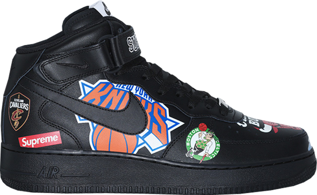 online store 99ce8 f7b8a Nike Air Force 1 Mid Supreme NBA Black