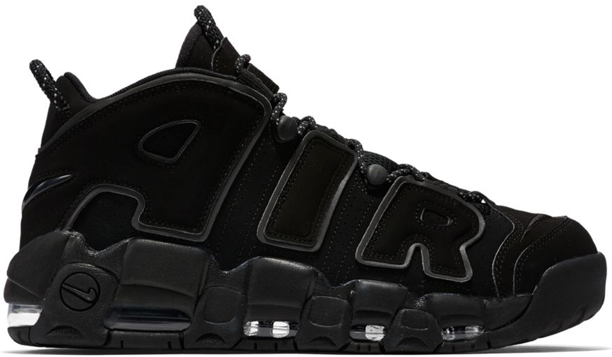 Nike Air More Uptempo Black Reflective 414962-004 Triple Black Basketball Shoes
