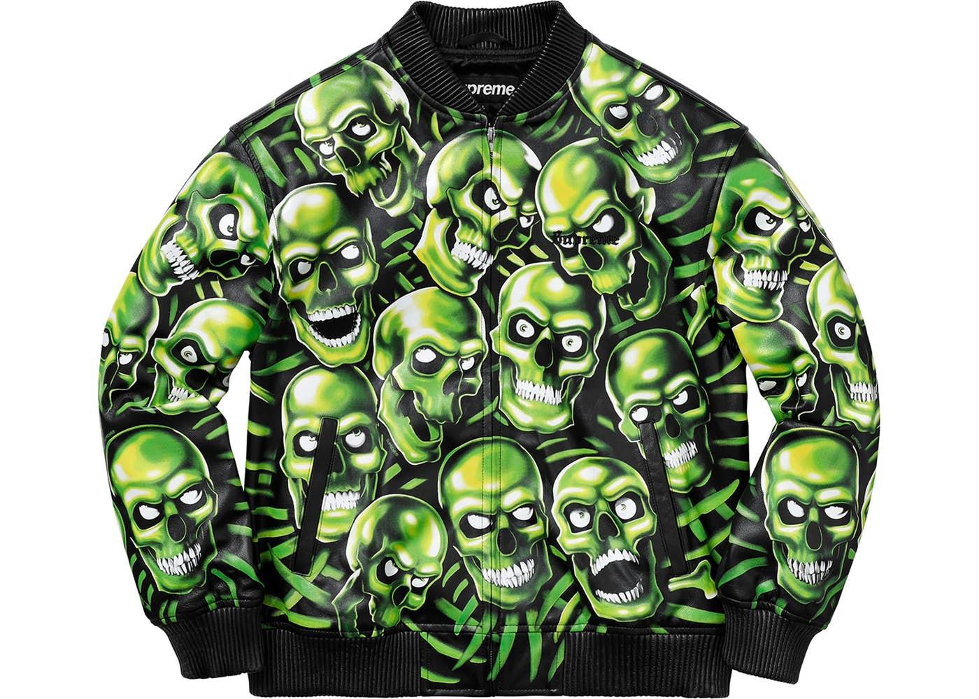 Supreme Skull Pile Leather Bomber Jacket Green Spring