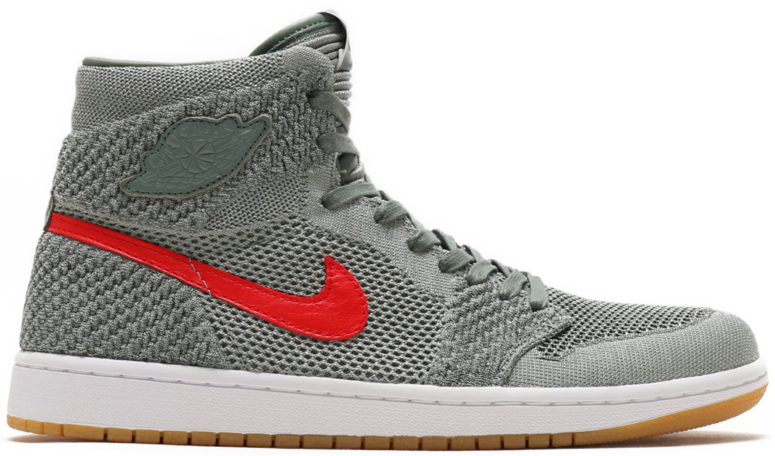 64066100246d25 Air Jordan 1 High Flyknit Clay Green