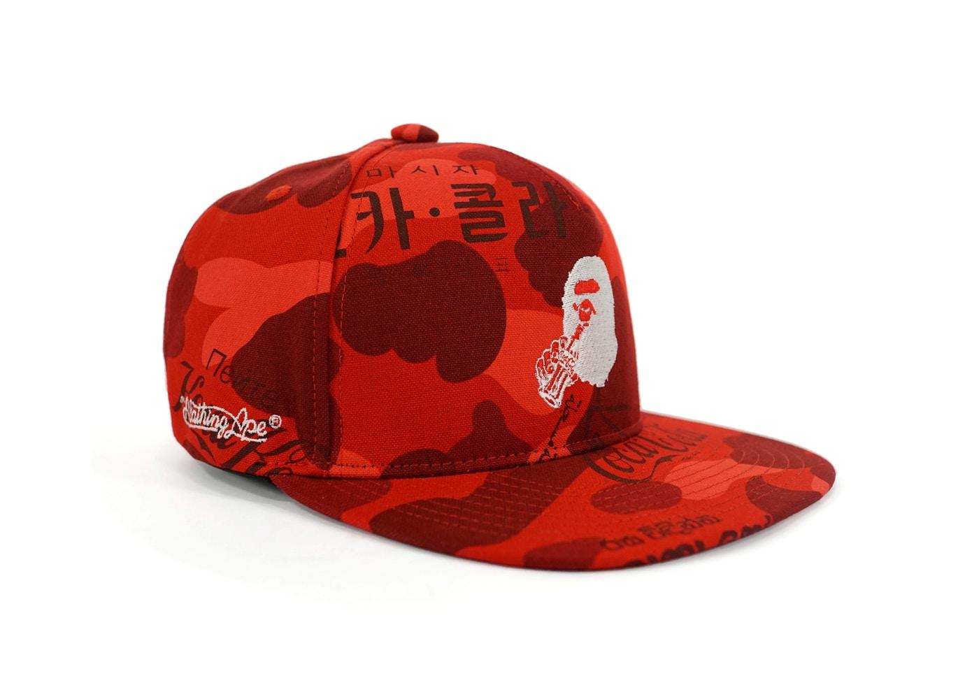 33ca0b4053c Bape Coca Cola Camo Snapback Hat Red Bathing Ape