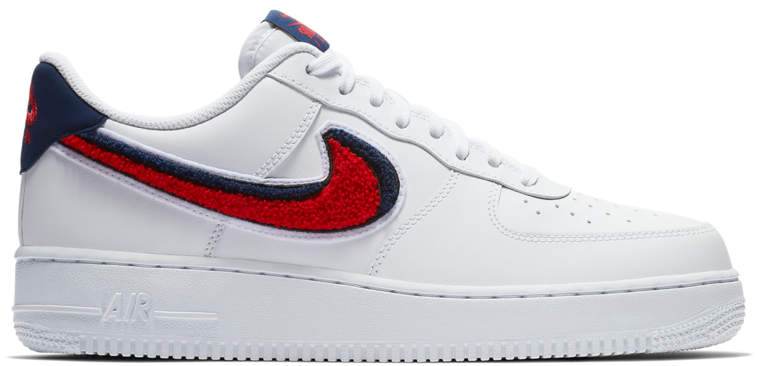 b09abed99942 Nike Air Force 1 Low 3D Chenille Swoosh White Red Blue