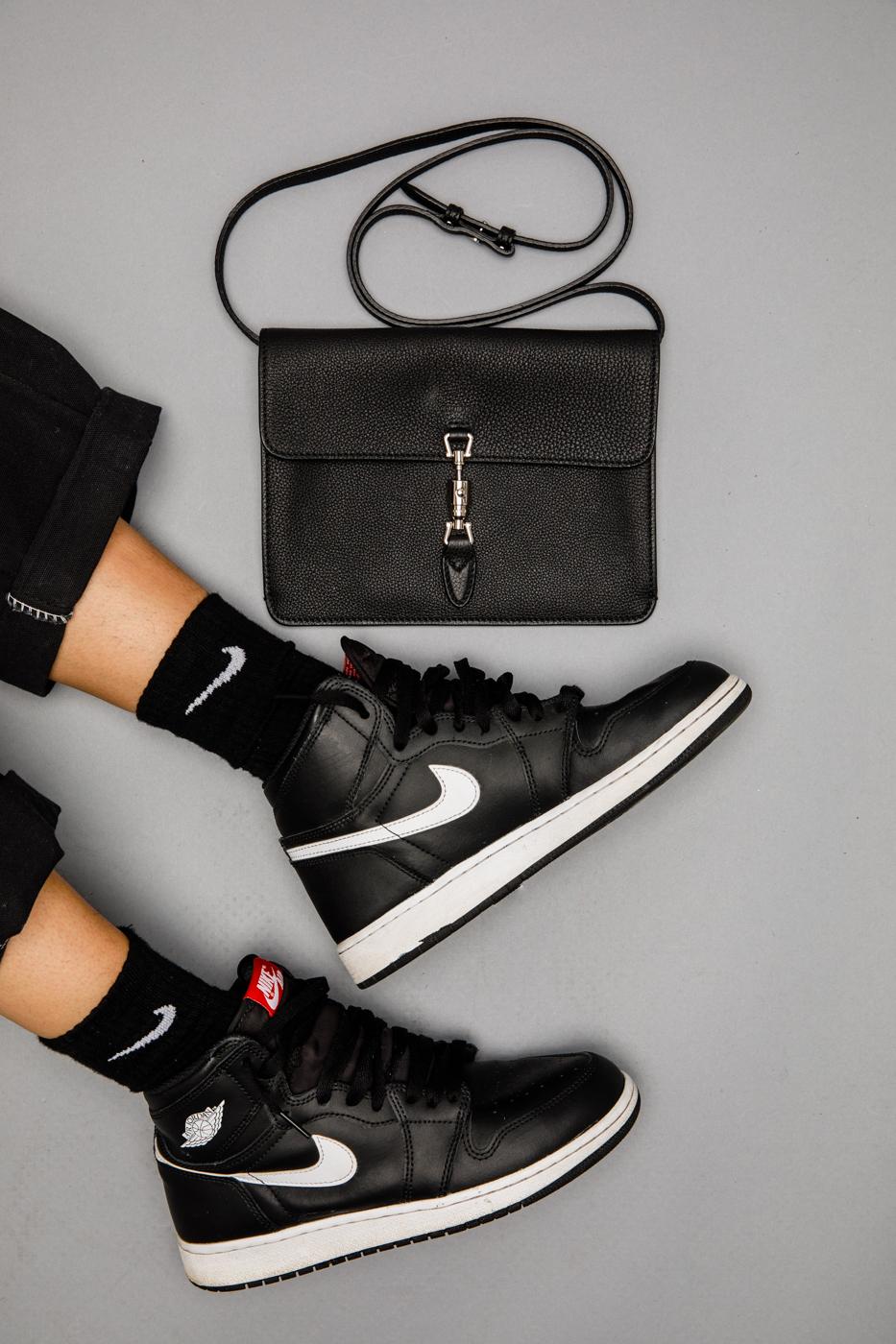 huge discount 7e97b 4cddd With a baby Louis Vuitton under your underarm, you know you need classic white  Jordan kicks to match. Sneaker  Jordan 1 Retro Yin Yang Black