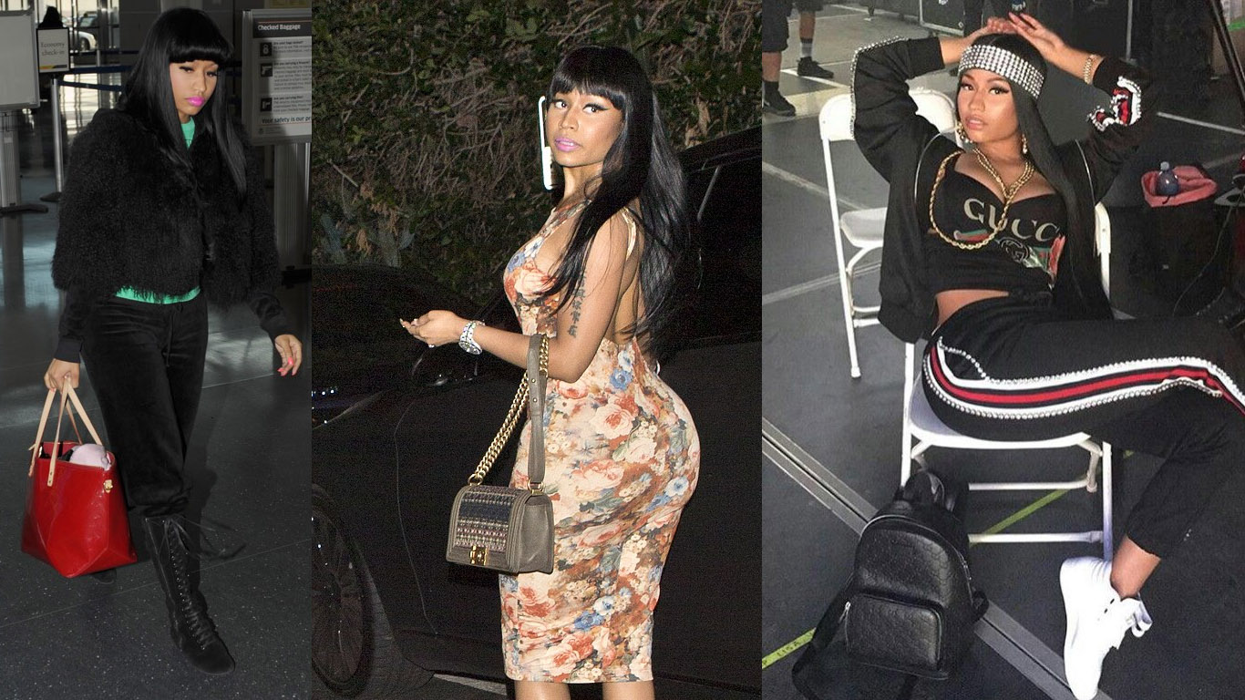 1aad00ece03c12 While the pink version of Minaj's bag is standard, the black Boy bag,  outlined by extra chain links, is another rare model she has. Shop the  Chanel Boy Bag