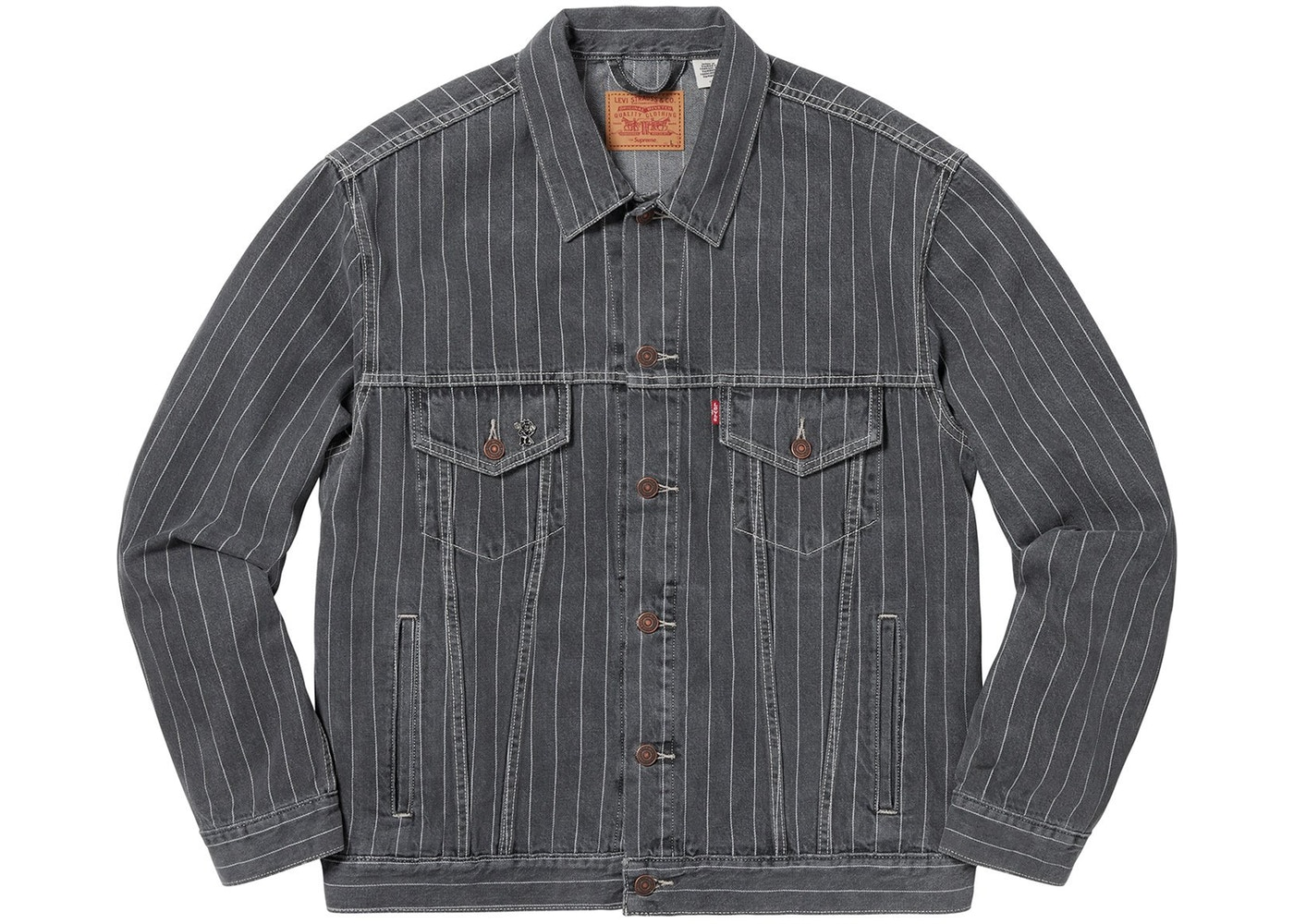 d20ee785 Supreme Levi's Pinstripe Trucker Jacket (With Pin) Black Stripe
