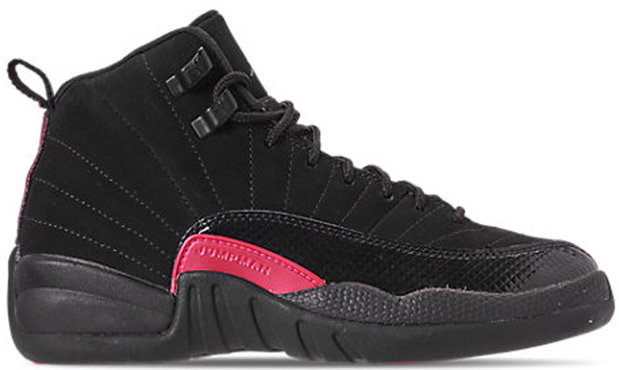 Girls Air Jordan 12 Black Rush Pink